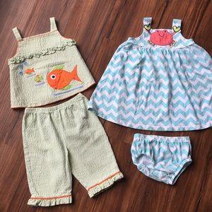 Seersucker Fish Outfit & Chevron Crab Dress
